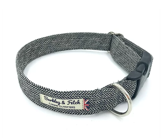 Grey Herringbone Dog Collar - Barkley & Fetch - My Pet Gift Box