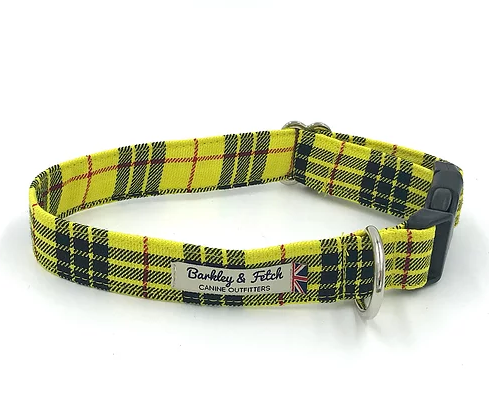 Yellow Tartan Dog Collar - Barkley & Fetch - My Pet Gift Box