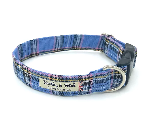 Blue Tartan Dog Collar - Barkley & Fetch - My Pet Gift Box