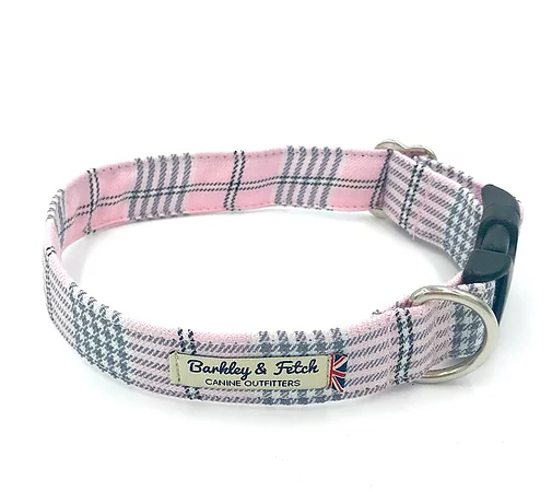 Pale Pink Tartan Dog Collar - Barkley & Fetch - My Pet Gift Box