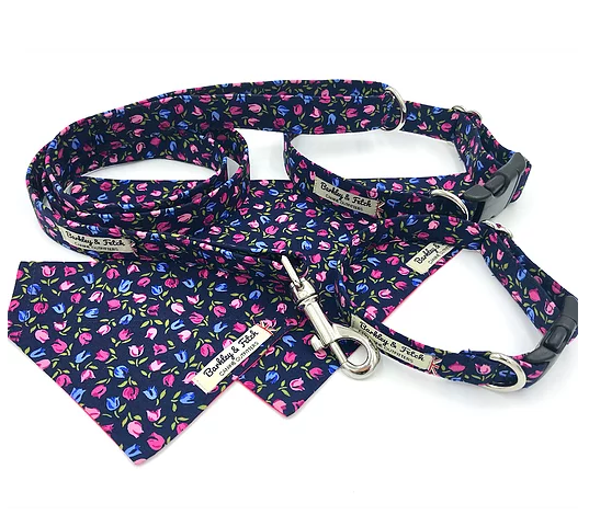 Navy Tulip Ditsy Print Dog Collar - Barkley & Fetch - My Pet Gift Box