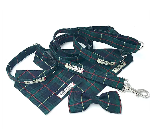Green/Navy Tartan Dog Collar - Barkley & Fetch - My Pet Gift Box