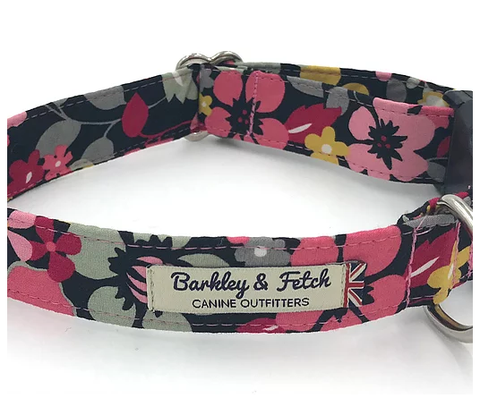 Black and Pink Flower Dog Collar - Barkley & Fetch - My Pet Gift Box