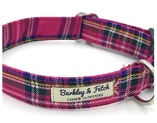Bright Pink Tartan Dog Collar - Barkley & Fetch - My Pet Gift Box
