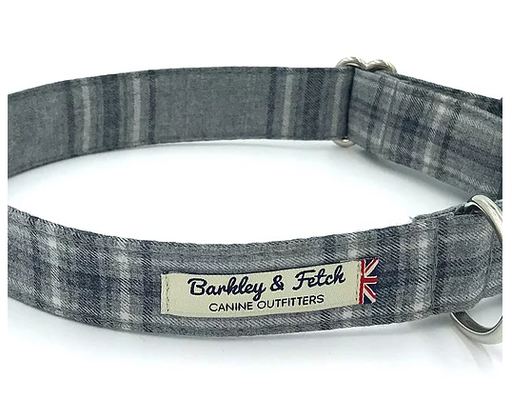 Grey Flannel Check Dog Collar - Barkley & Fetch - My Pet Gift Box