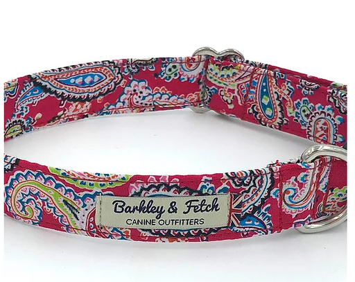 Red Paisley Print Dog Collar - Barkley & Fetch - My Pet Gift Box