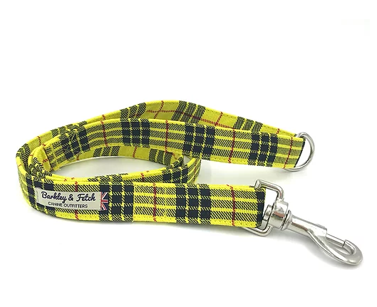 Yellow Tartan Dog Lead - Barkley & Fetch - My Pet Gift Box