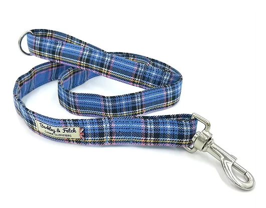 Blue Tartan Dog Lead - Barkley & Fetch - My Pet Gift Box