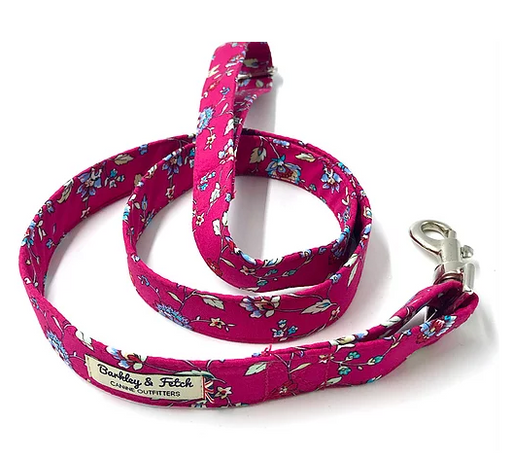 Hot Pink Flower Print Dog Lead