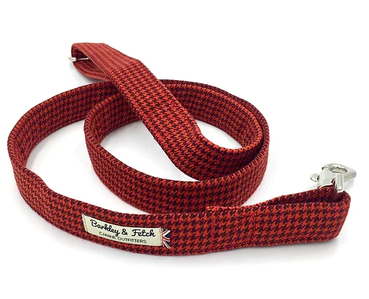 Red Dogtooth Check Dog Lead - Barkley & Fetch - My Pet Gift Box