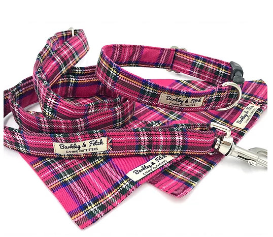 Bright Pink Tartan Dog Lead - Barkley & Fetch - My Pet Gift Box
