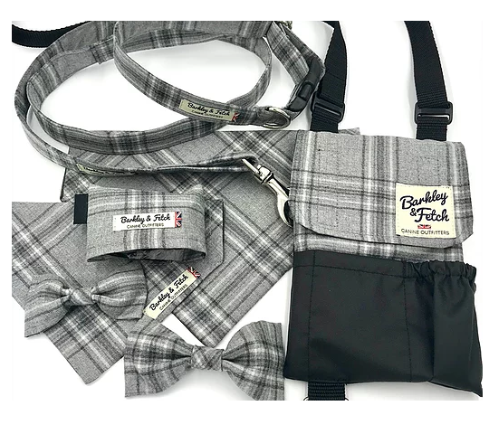 Grey Flannel Check Dog Lead - Barkley & Fetch - My Pet Gift Box