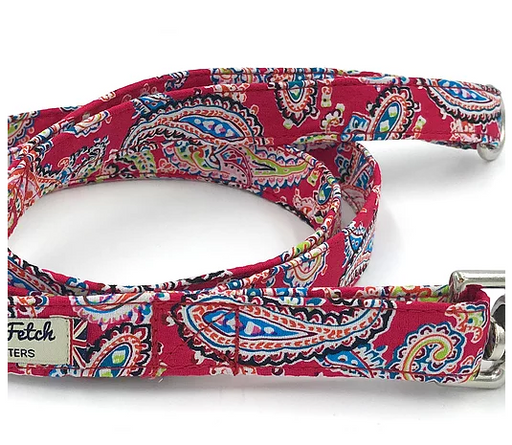 Red Paisley Print Dog Lead - Barkley & Fetch - My Pet Gift Box