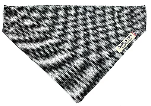 Grey Herringbone Dog Bandana - Barkley & Fetch - My Pet Gift Box