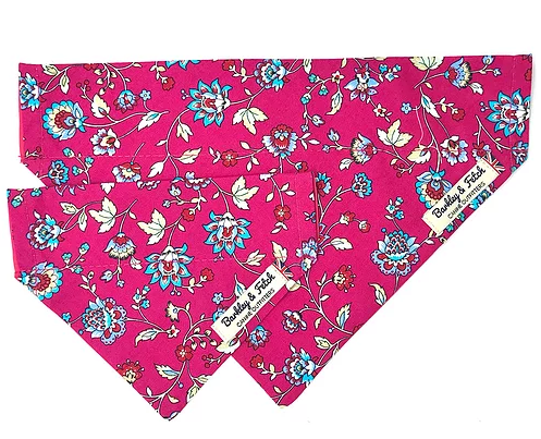 Hot Pink Flower Print Dog Bandana - Barkley & Fetch - My Pet Gift Box