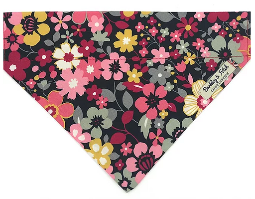 Black and Pink Flower Dog Bandana - Barkley & Fetch - My Pet Gift Box