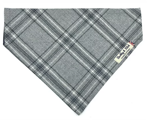 Grey Flannel Check Dog Bandana - Barkley & Fetch - My Pet Gift Box