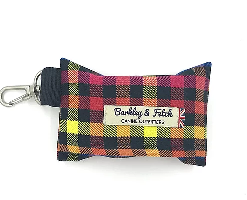 Rainbow Check Poo Bag Holder - Barkley & Fetch - My Pet Gift Box