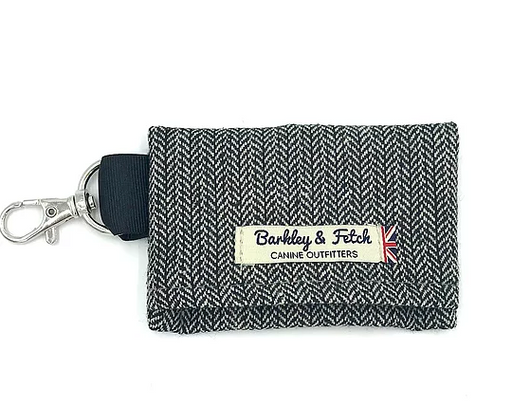 Grey Herringbone Poo Bag Holder - Barkley & Fetch - My Pet Gift Box