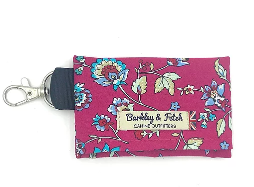 Hot Pink Flower Print Poo Bag Holder - Barkley & Fetch - My Pet Gift Box