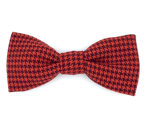 Red Dogtooth Check Dog Bowtie