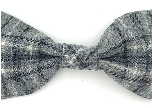 Grey Flannel Check Dog Bowtie - Barkley & Fetch - My Pet Gift Box