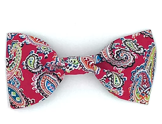 Red Paisley Print Dog Bowtie - Barkley & Fetch - My Pet Gift Box