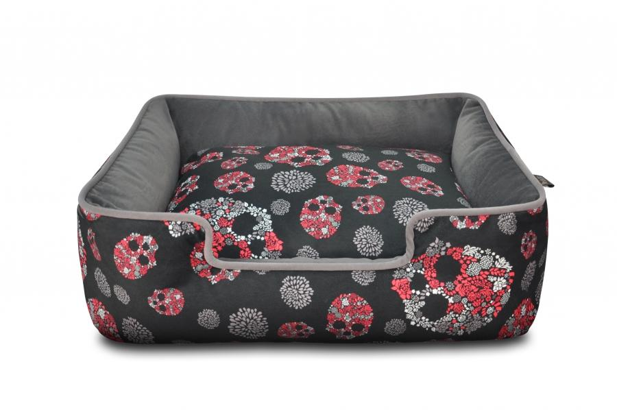 Skulls & Roses Lounge Dog Bed - In Vogue Pets - My Pet Gift Box