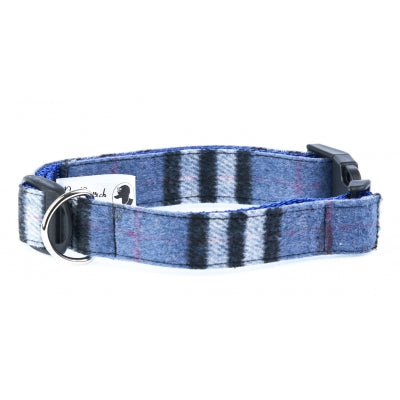 Handmade Slate Blue Wool Tweed Dog Collar - Pet Pooch Boutique - My Pet Gift Box
