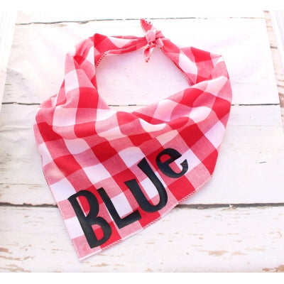 Southern Red Plaid Personalised Dog Bandana