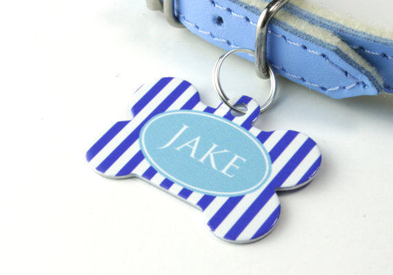 Personalised Stripe Print Bone Pet Id Tag