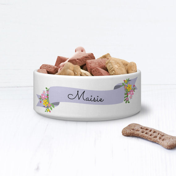 Vintage Floral Shabby Chic Personalised Pet Bowl - We Love To Create - My Pet Gift Box
