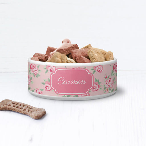 Floral Shabby Chic Personalised Pet Bowl - We Love To Create - My Pet Gift Box