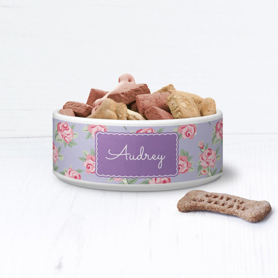 Vintage Floral Shabby Chic Personalised Pet Bowl