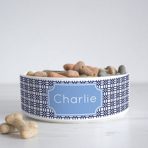 Weave Print Personalised Pet Bowl