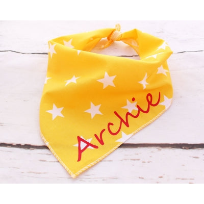 Yellow Stars Personalised Dog Bandana