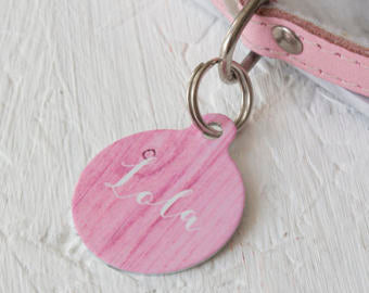 Personalised Pink Wood Pet ID Tag