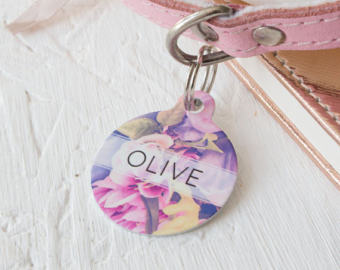 Personalised Floral Pet ID Tag - We Love To Create - My Pet Gift Box