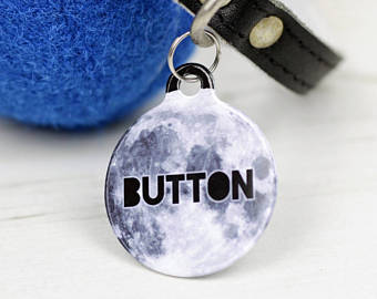 Personalised Moon Pet Tag Bauble Shaped