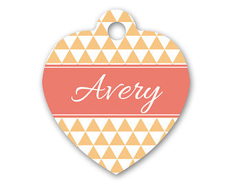 Personalised Triangle Print Heart Pet Id Tag - We Love To Create - My Pet Gift Box