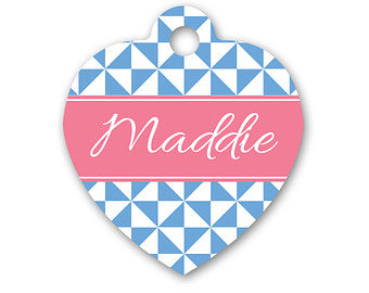 Personalised Pinwheel Print Heart Pet Id Tag