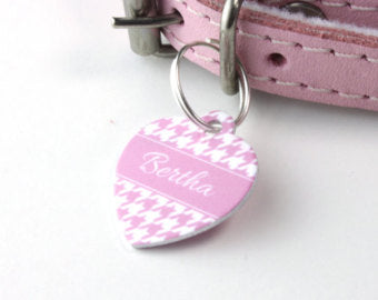 Personalised Houndstooth Print Heart Pet Id Tag