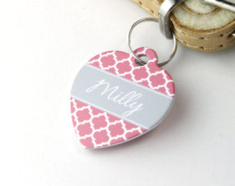 Personalised Quatrefoil Print Heart Pet Id Tag - We Love To Create - My Pet Gift Box