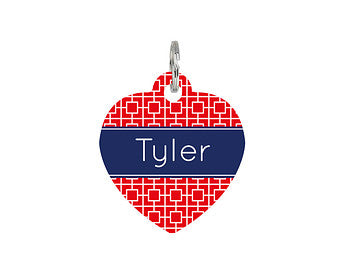 Personalised Square Print Heart Pet Id Tag