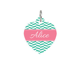 Personalised Herringbone Print Heart Pet Id Tag