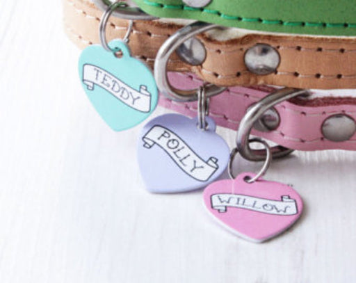 Personalised Rock Tattoo Banner Print Heart Pet Id Tag