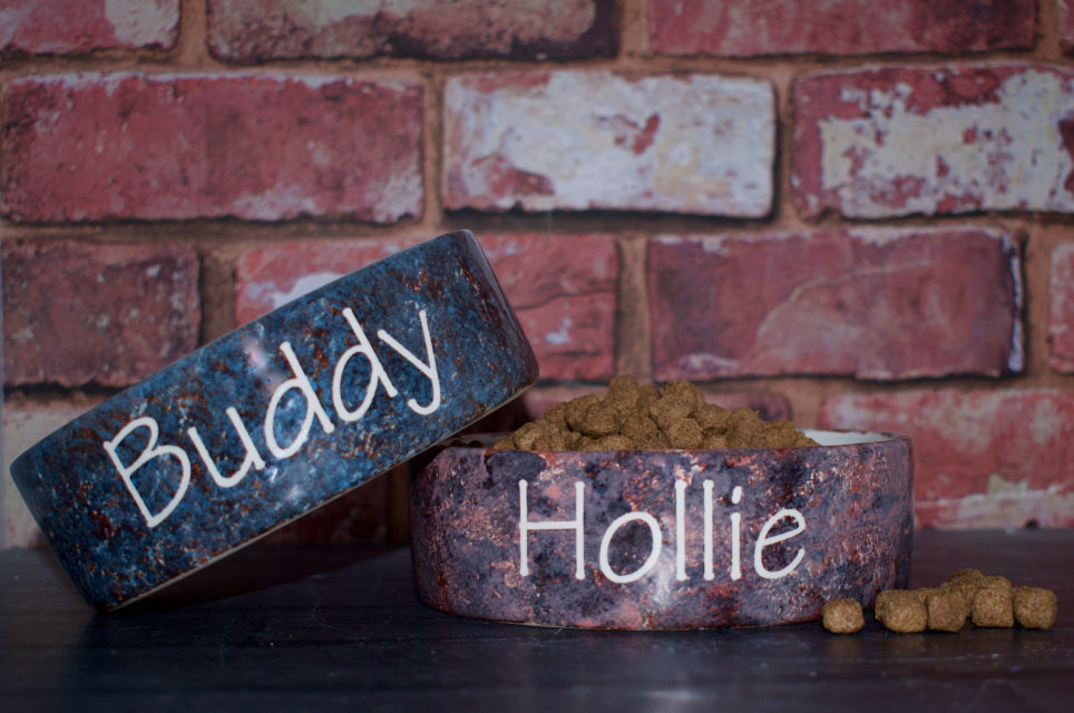 Personalised Granite Design Dog Bowl - Crazy Fur You - My Pet Gift Box