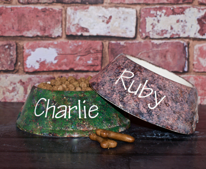 Personalised Granite Design Slanted Dog Bowl - Crazy Fur You - My Pet Gift Box