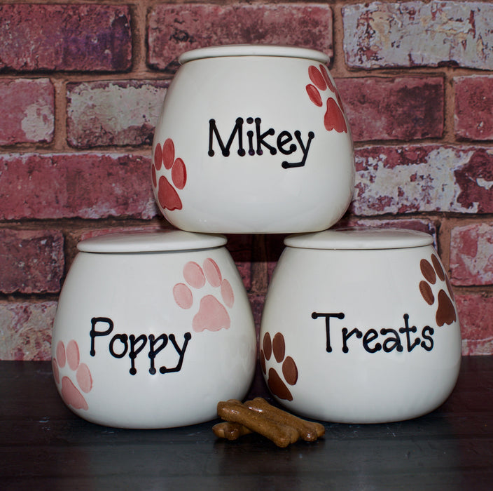 Personalised Paw Print Design Ceramic Dog Treat Jar - Crazy Fur You - My Pet Gift Box