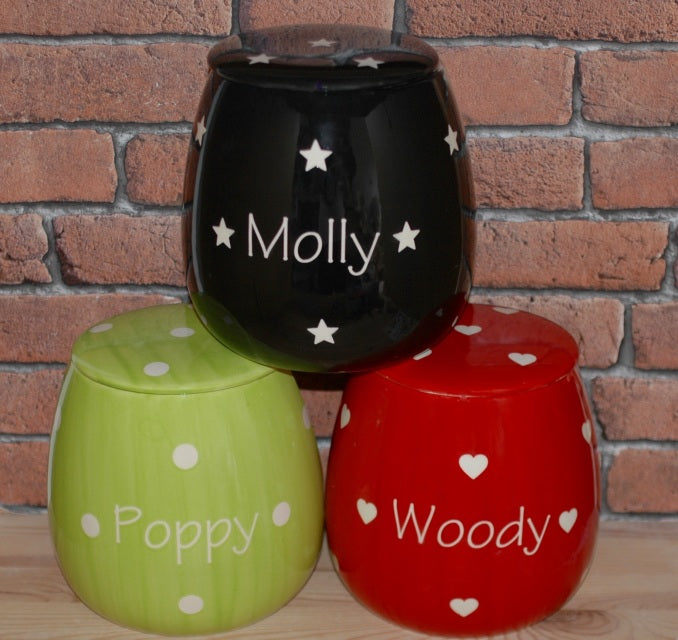 Personalised Polka Design Ceramic Dog Treat Jar - Crazy Fur You - My Pet Gift Box